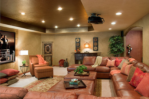 Theater media room without traditional media seating for Den living room designs