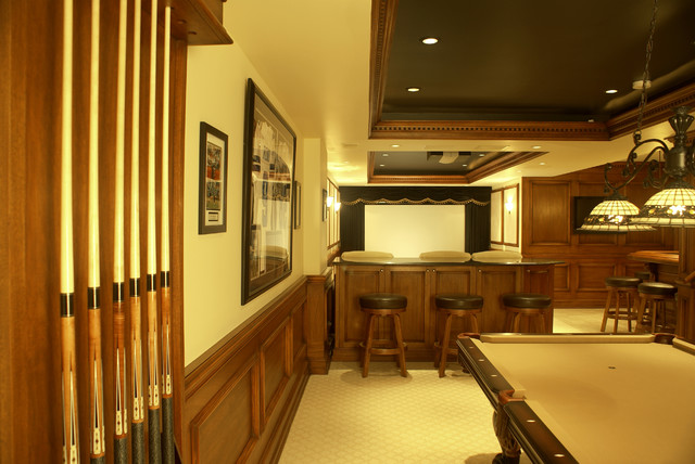 Theaer and Bar - traditional - media room - newark - by WL INTERIORS