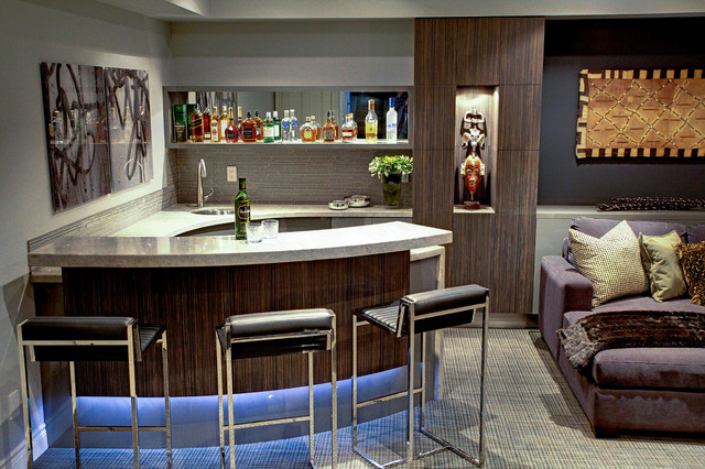 Trafalgar Contemporary Media Room And Bar Home Theater Toronto By Robinson Interior Design