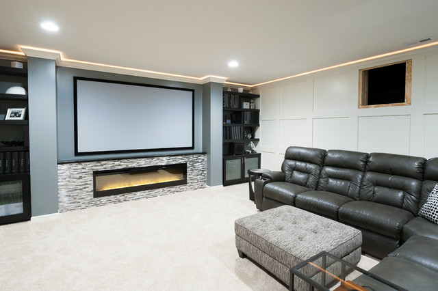 transitional basement access panel traditional home theater