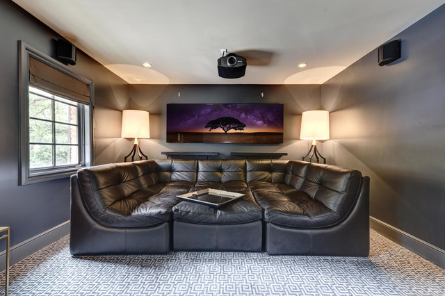 Transitional Tarrytown Home Transitional Home Theater