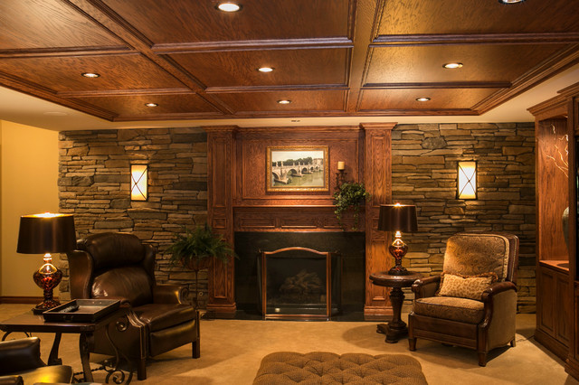 Tuscan style traditional home theater detroit by for Tuscan style homes interior