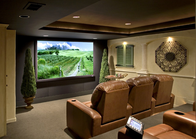 Tuscan Theater Mediterranean Home Theater