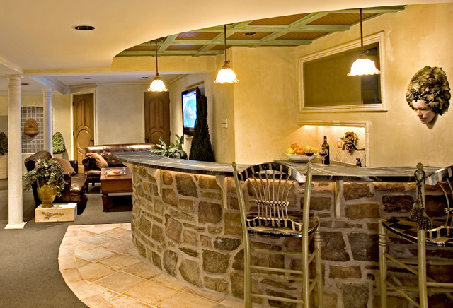 Tuscan Theme Theater traditional-home-theater