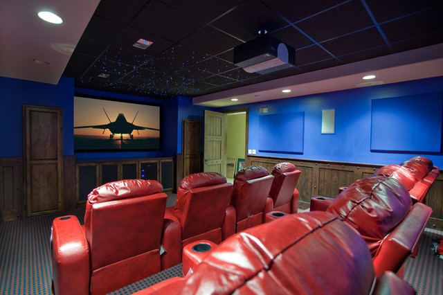 Tuscan Timbers contemporary-home-theater