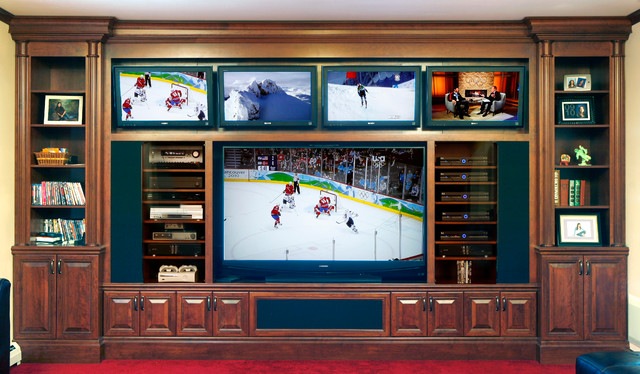 Man Cave With Multiple Tvs : Tv media home theater traditional other