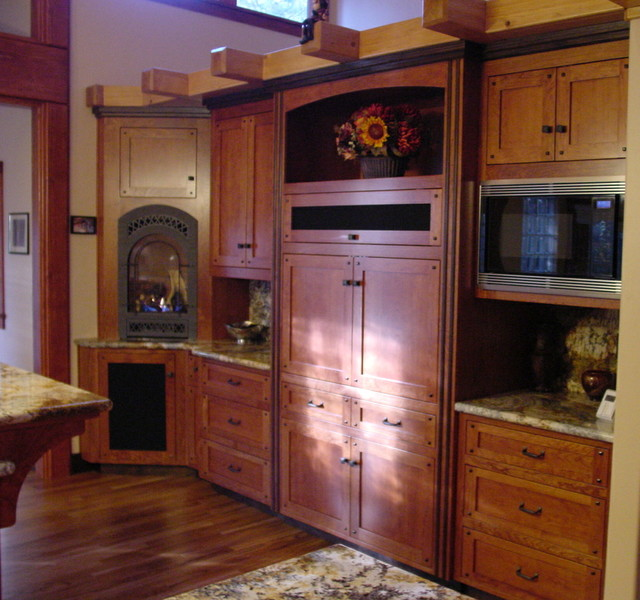 Twain Harte kitchen in warm cherry with ebonized walnut accents and inlays craftsman-home-theater