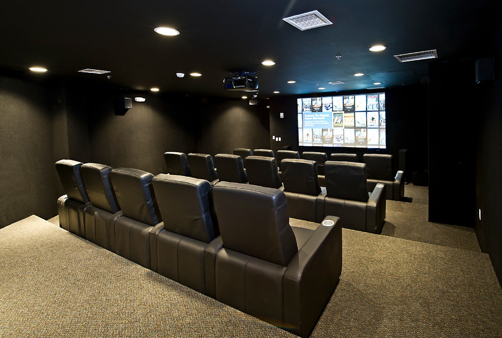 Ultimate Doomsday Bunker Theater Room For 15 People Contemporary Home Theater Kansas City By Logic Integration
