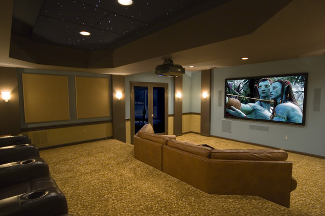 Trendy Enclosed Carpeted Home Theater Photo In Dc Metro With A Projector Screen