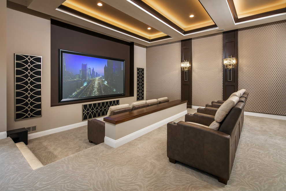 Home theater - large transitional open concept carpeted and beige floor home theater idea in Omaha with beige walls and a projector screen