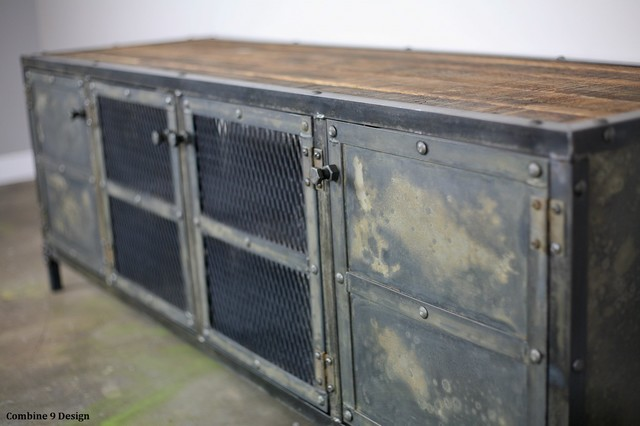 Vintage industrial media console credenza reclaimed wood for Sideboard industrial design