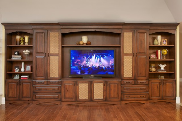Walnut creek entertainment center rustic home theater Home entertainment center