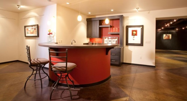Wet Bar contemporary-home-theater
