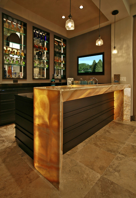 Wet Bars contemporary-home-theater