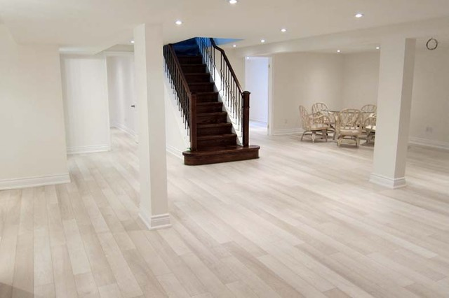 White and Bright Basement contemporary media room