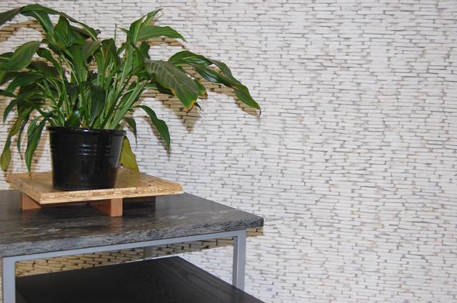 White Flat Standing Pebble Tile modern-home-theater