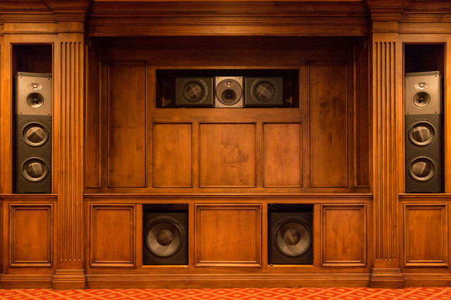 Exceptionnel Wood Cabinet Theater Speakers Traditional Home Theater