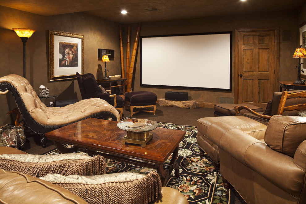 Home theater - eclectic home theater idea in Minneapolis with a projector screen
