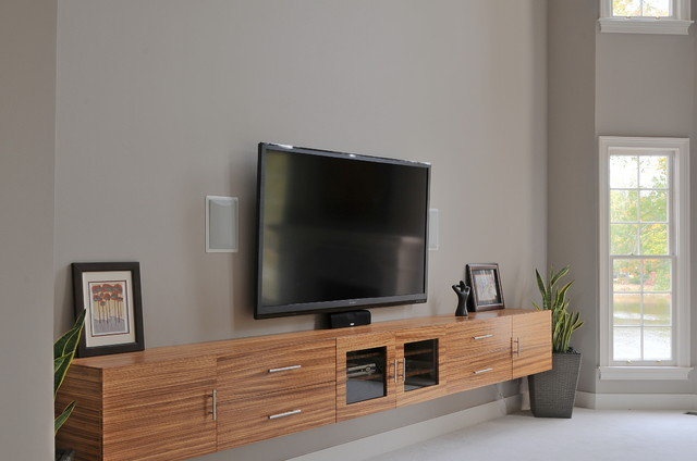 Zebrawood TV Cabinet - Contemporary - Home Theater ...