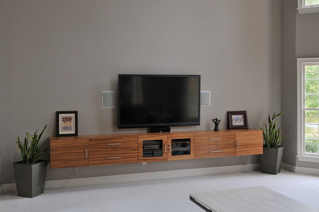 Zebrawood TV Cabinet - Contemporary - Home Theater - Atlanta - by Innovative Construction Inc.