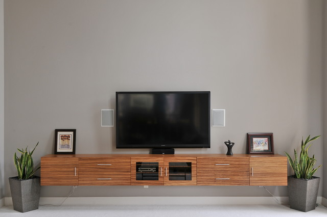 Zebrawood TV Cabinet Contemporary Home Theater