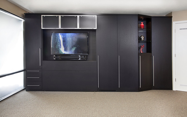 Zoom-Room Wall Bed & Custom Cabinetry contemporary-home-theater