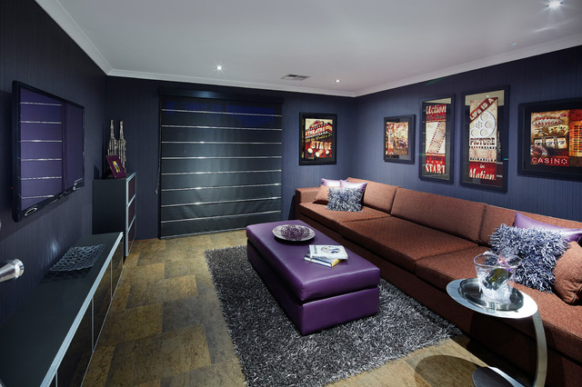 Trendy Multicolored Floor Home Theater Photo In Perth With Blue Walls And A Wall Mounted