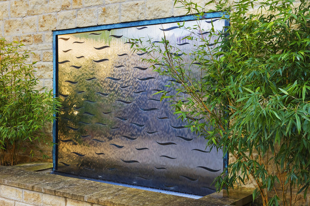 Bronze wavy water wall modern london by david harber for Garden water wall designs