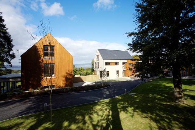 Collection of four contemporary Iroko timber clad modern family homes contemporary-exterior