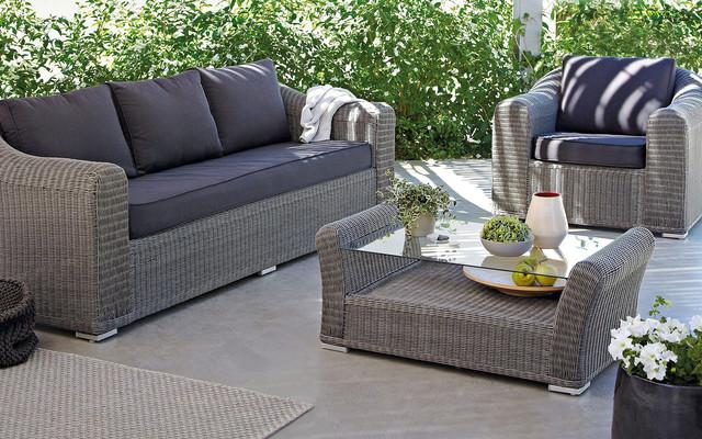 Comoro rattan effect coffee set coastal exterior for Garden rooms b q