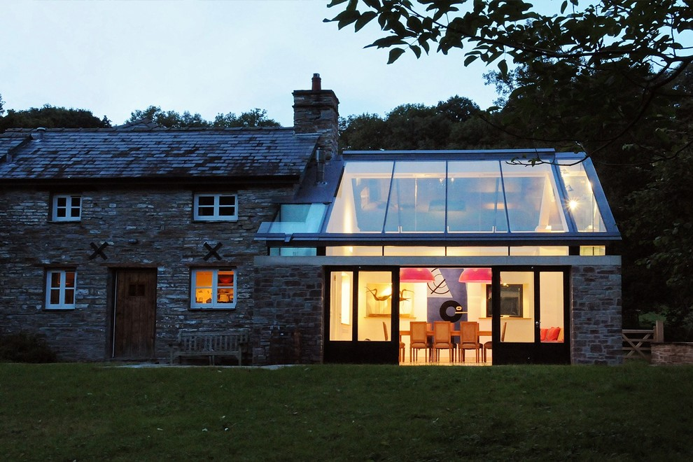 Example of a transitional exterior home design in Cardiff