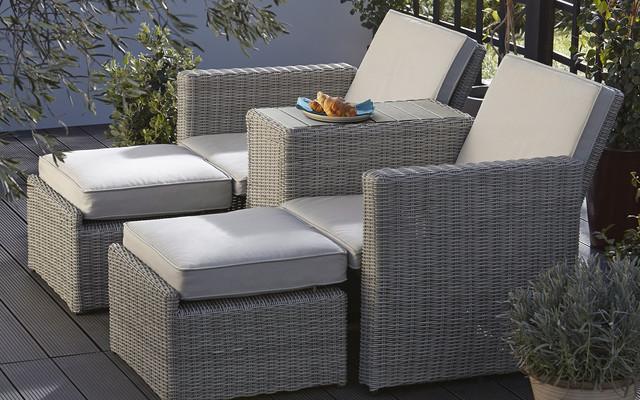 Praslin rattan effect love seat sun lounger contemporary for Garden rooms b q