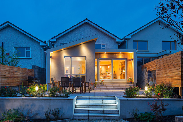 Example of a transitional two-story mixed siding exterior home design in Dublin