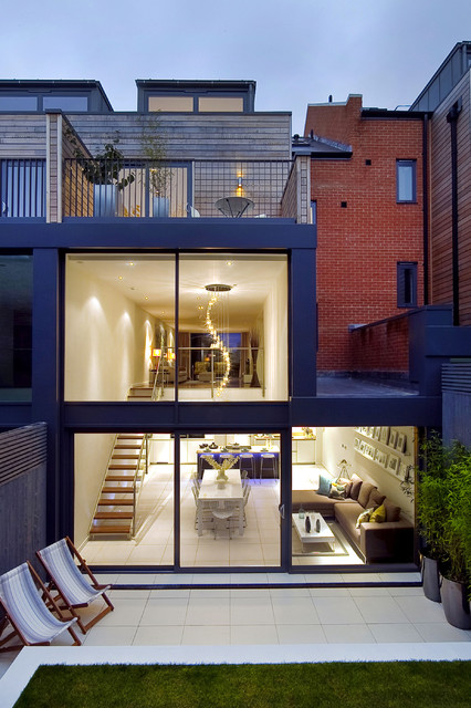 Rear external - showing kitchen / living / dining room. - modern