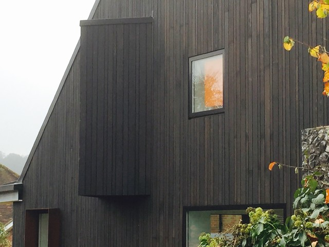 Shou Sugi Ban black cedar cladding in Amersham  : traditional exterior from www.houzz.com size 640 x 480 jpeg 68kB