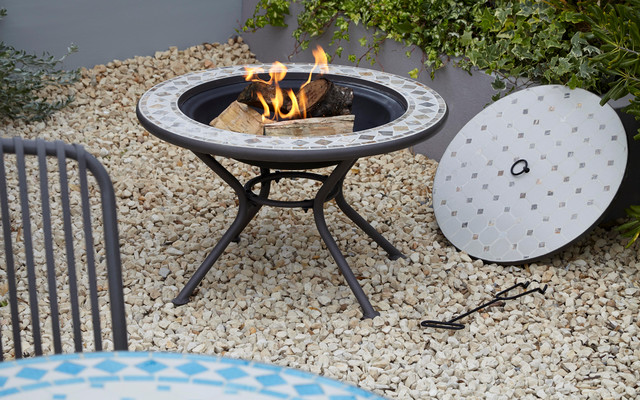 silene mosaic metal fire pit table contemporary. Black Bedroom Furniture Sets. Home Design Ideas