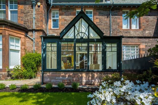 Traditional timber conservatory traditional exterior for Conservatory doors exterior