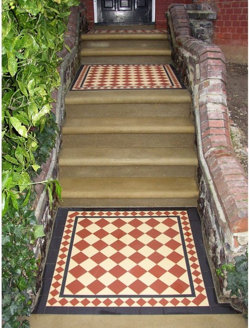 Victorian Style Pathway With Geometric Floor Tiles Victorian