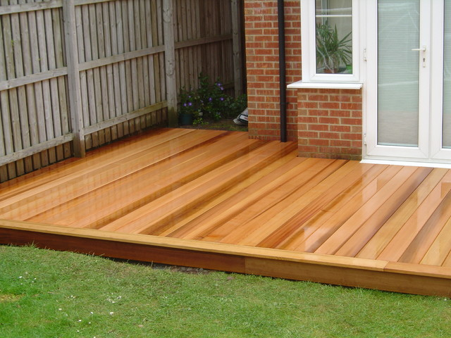 Western red cedar deck by green onion rustic exterior for Exterior timber decking