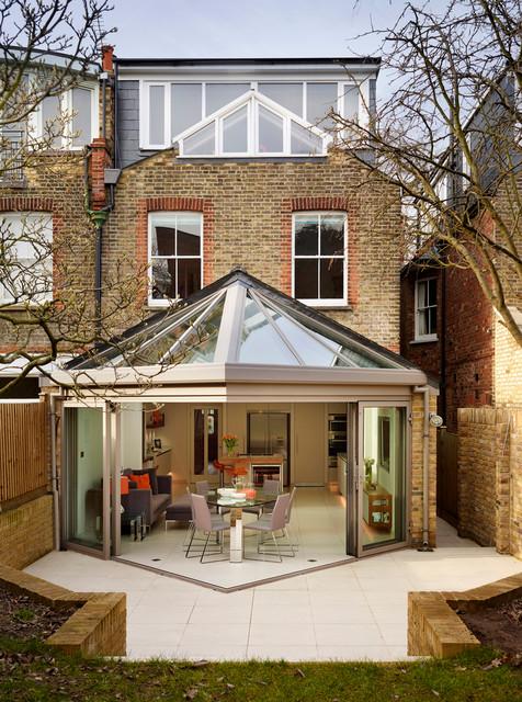 White Bespoke Kitchen Contemporary Exterior London
