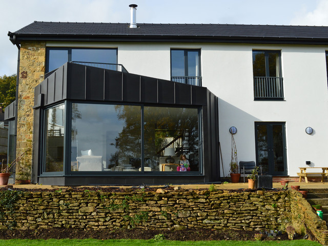 zinc clad bay window extension for 1960s house in west. Black Bedroom Furniture Sets. Home Design Ideas
