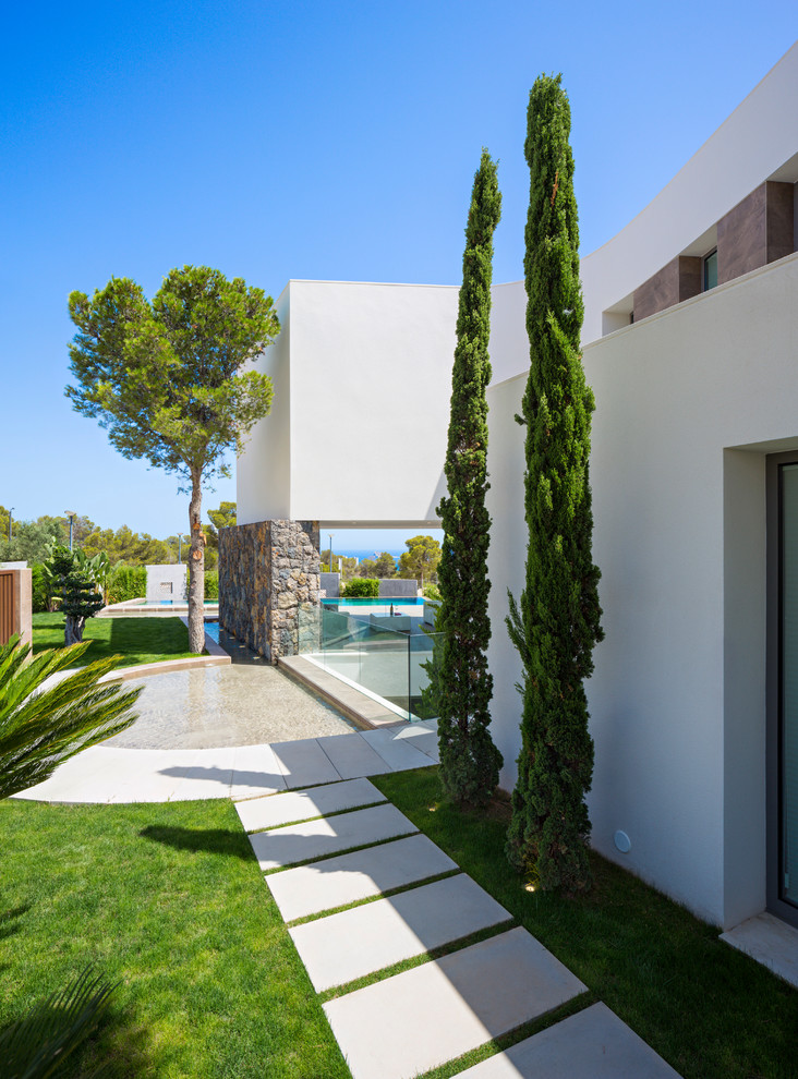 Foto de camino de jardín francés, mediterráneo, grande, en patio lateral