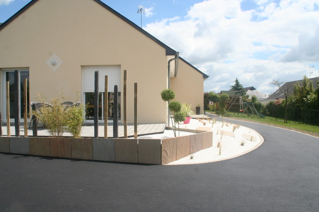 Am nagement terrasse et entr e contemporain jardin for Amenagement entree jardin