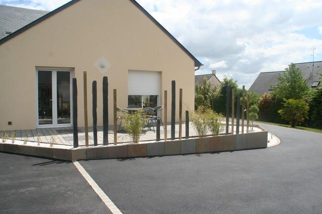 Aménagement terrasse et entrée - Contemporain - Jardin - Angers ...