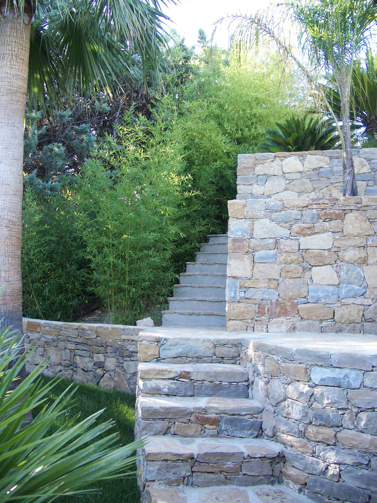 Design ideas for a large tropical shade backyard stone garden path in Marseille for summer.