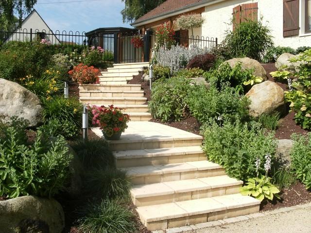 escalier campagnard campagne jardin le havre par paysages conseil. Black Bedroom Furniture Sets. Home Design Ideas