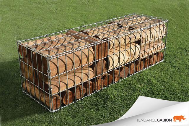 Gabion Steel-Wood ® : gabions + bois - Contemporain - Jardin ...