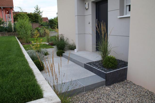 jardin granit bois  u00e9rables - asiatique - jardin - strasbourg
