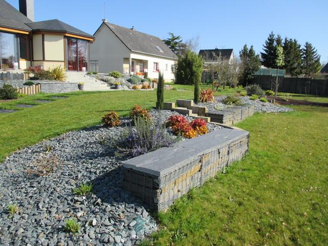 Jardins à plusieurs niveaux contemporain-jardin