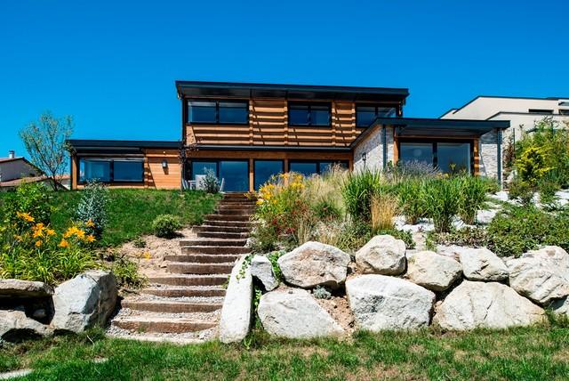 Maison bois poteau poutre toiture terrasse millery lyon 69 for Poteau bois exterieur